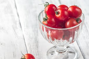 Glass bowl of cherry tomatoes