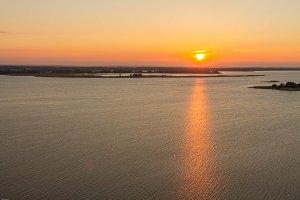 Sunrise over the river. Dnieper. Rzhishchev. Ukraine.