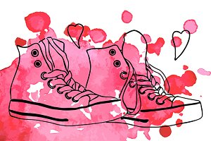 Sneakers line art pink spot vector