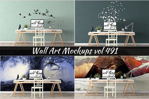 Wall Mockup - Sticker Mockup Vol 491