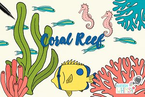 Tropical Fish & Coral Illustrations