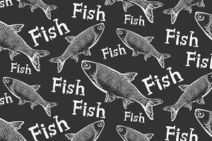 Fish, seamless pattern