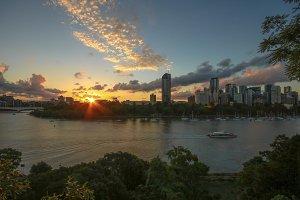 Sunset in big city