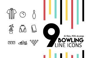 Bowling Line Icons