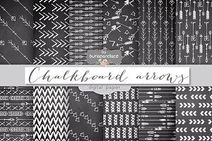 Chalkboard arrows digital papers
