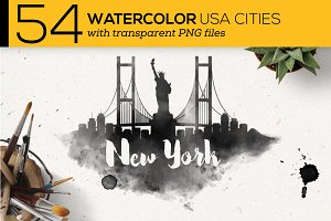 54 Watercolor USA City Silhouettes