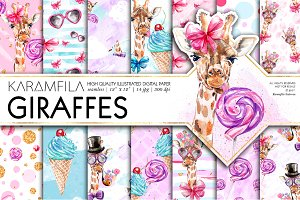 Funny Fashion Giraffes Digital Paper