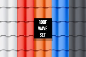 Set of Waves roof tiles pattern