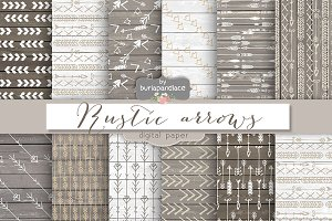 Rustic arrows digital papers