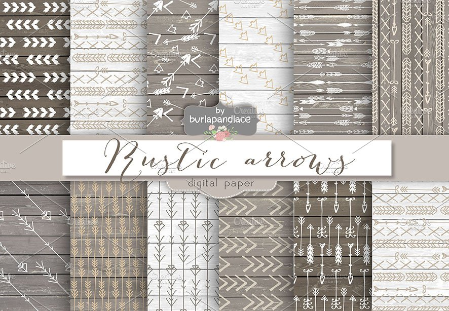 Rustic Arrows Digital Papers Graphic Patterns Creative Market