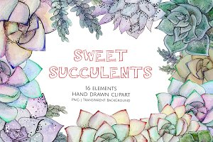 Succulents Hand Painted Clipart Set
