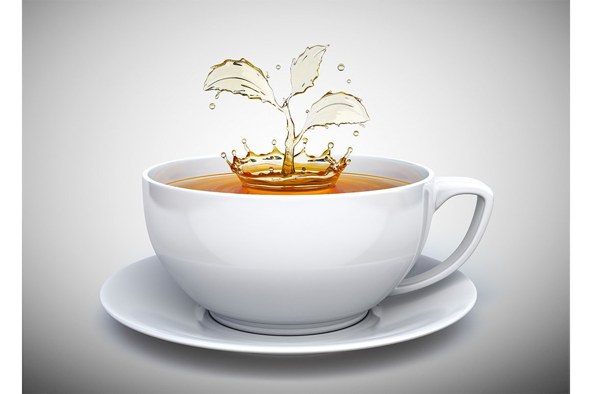 Splash Of The Tea In Form Of A Plant Graphics Creative