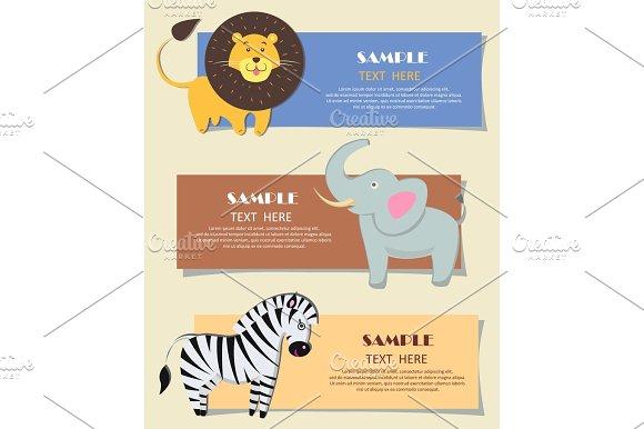 Three African Wild Animals Nursery Color Cards