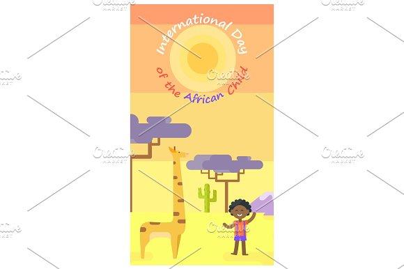 International African Child Day Cartoon Poster