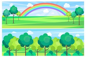 Picturesque Scenery Landscape with Color Rainbow.