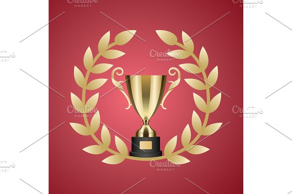 Gold Trophy Cup And Laurel Wreath Illustration