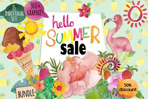 Hello summer bundle clip art