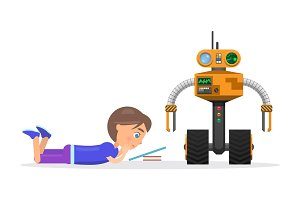 Little Boy Lies and Read Beside Robot Illustration