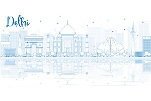Outline Delhi skyline