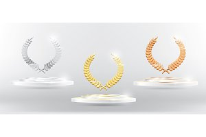 Gold Silver Bronze Laurel Wreath