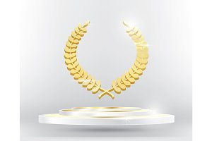 Gold Laurel Wreath on Podium.