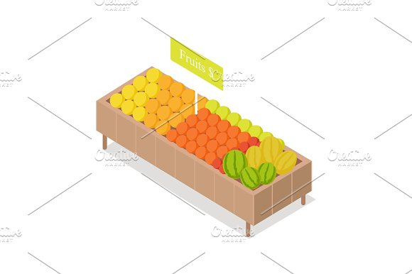 Fruits In Groceries Showcase Isometric Vector