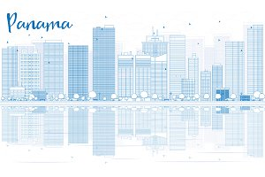 Outline Panama skyline