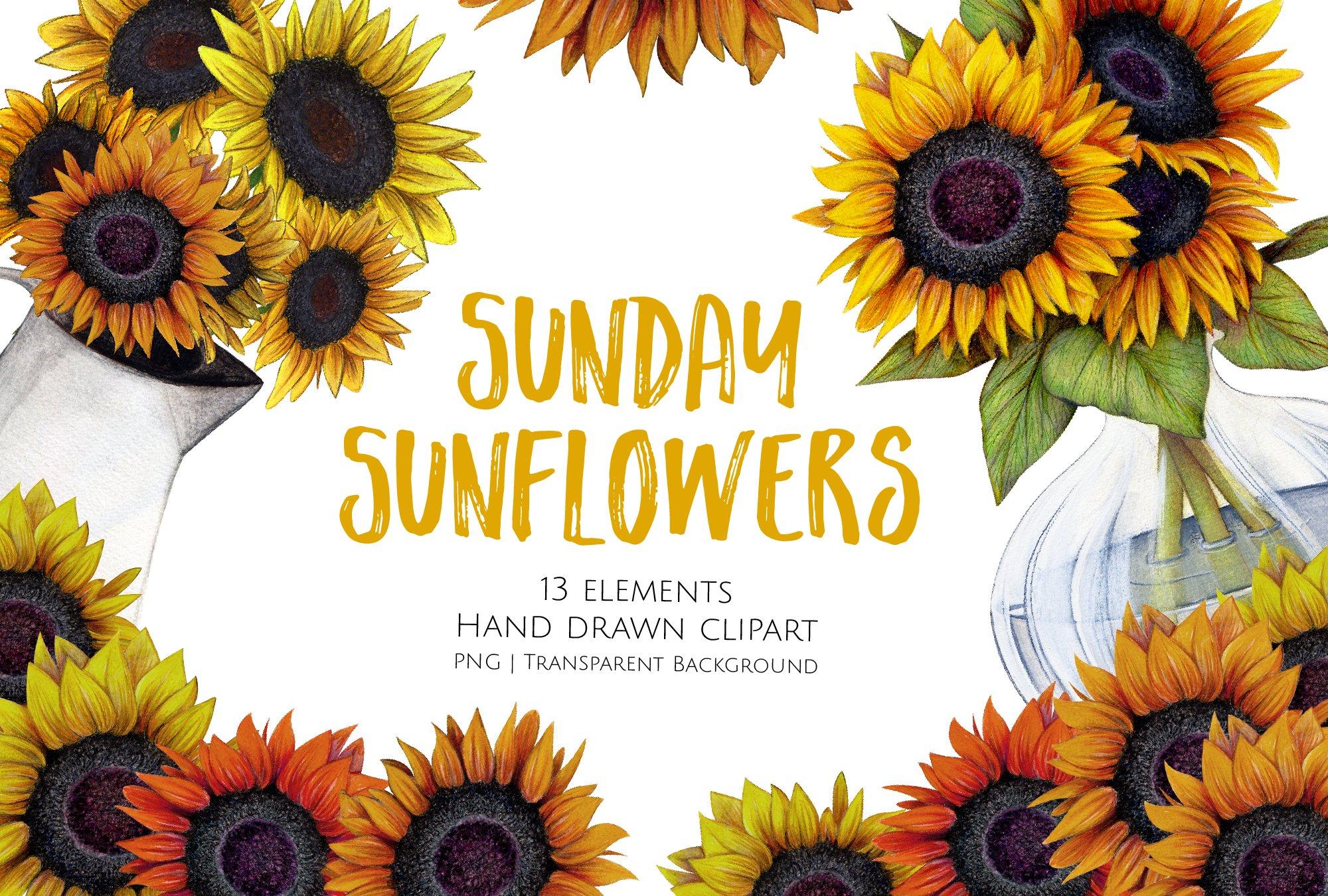 Sunday sunflowers hand drawn clipart illustrations creative market fandeluxe PDF