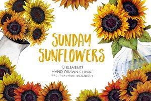 Sunday Sunflowers Hand Drawn Clipart