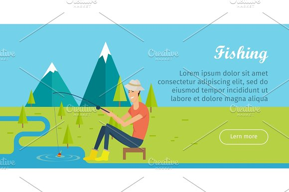 Fishing And Camping Concept Young Fisherman