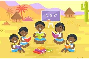 African Children Read Books Outdoor in Village