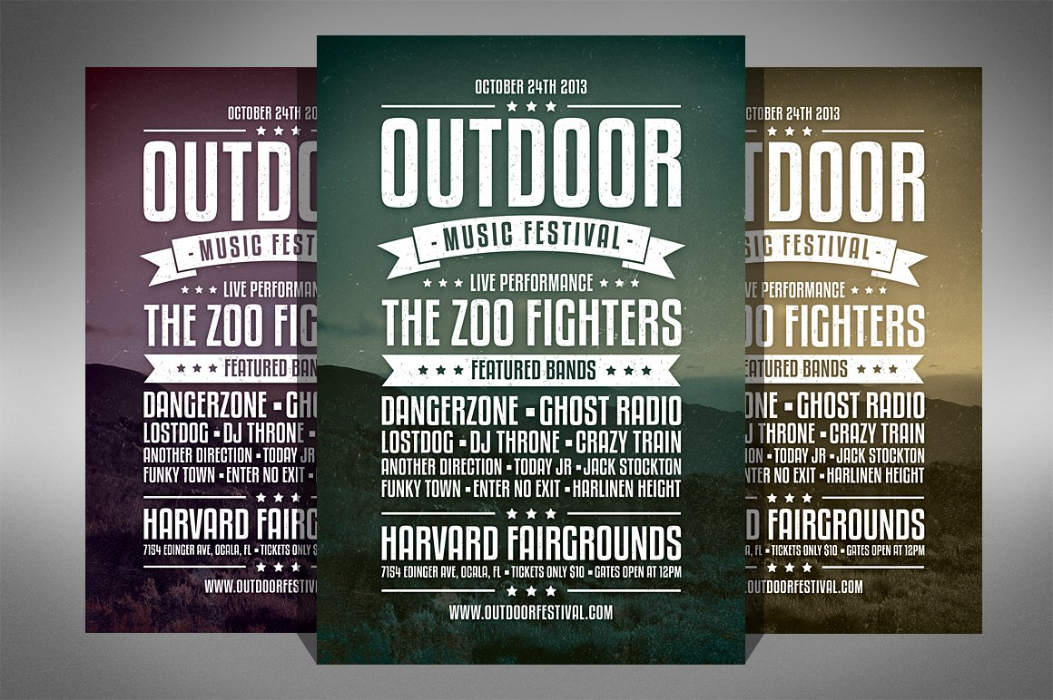 vintage music festival flyer flyer templates creative market