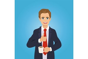 Businessman gives the thumbs up, drinking coffee
