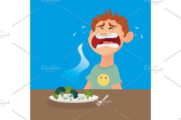 Upset Boy With Plate Of Fresh Vegetables Broccoli