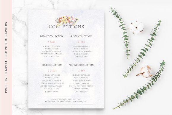 Wedding Photographer Price List Stationery Templates Creative Market