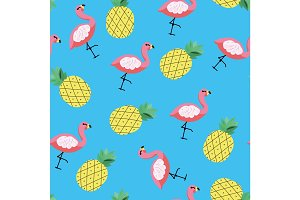 Seamless vector tropical pattern with pineapple and flamingo