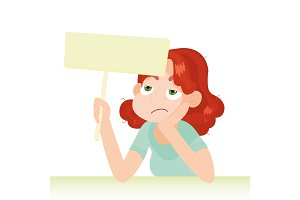 Woman with unhappy face holding an empty board