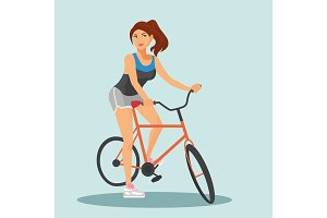 Adult young woman riding bicycles
