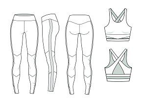 Yoga Set Fashion Flat Template