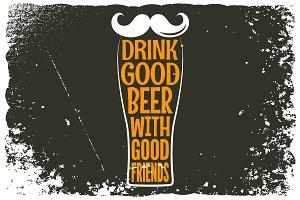beer glass hipster logo background