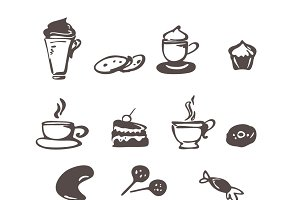 Coffee and dessert icons