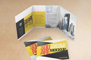 Square Tri-fold Brochure Mock-ups v2