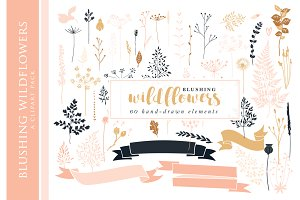 Floral wedding clip art hand drawn