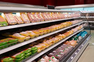 Chicken meat on supermarket shelf