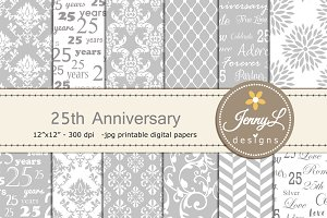 25th Wedding Anniv Digital Papers