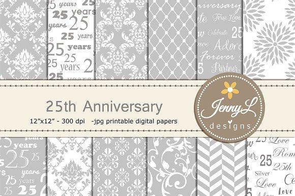 25th Wedding Anniv Digital Papers