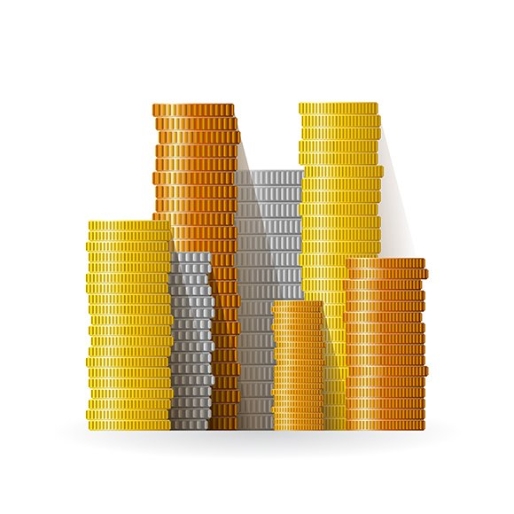Realistic Coin Stacks Set