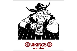 Viking The cheerful Viking with beer mug in hand