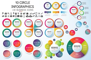 10 CIRCLE INFOGRAPHICS [AI+PSD]