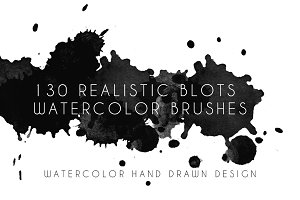 130 Watercolor Blots Brushes
